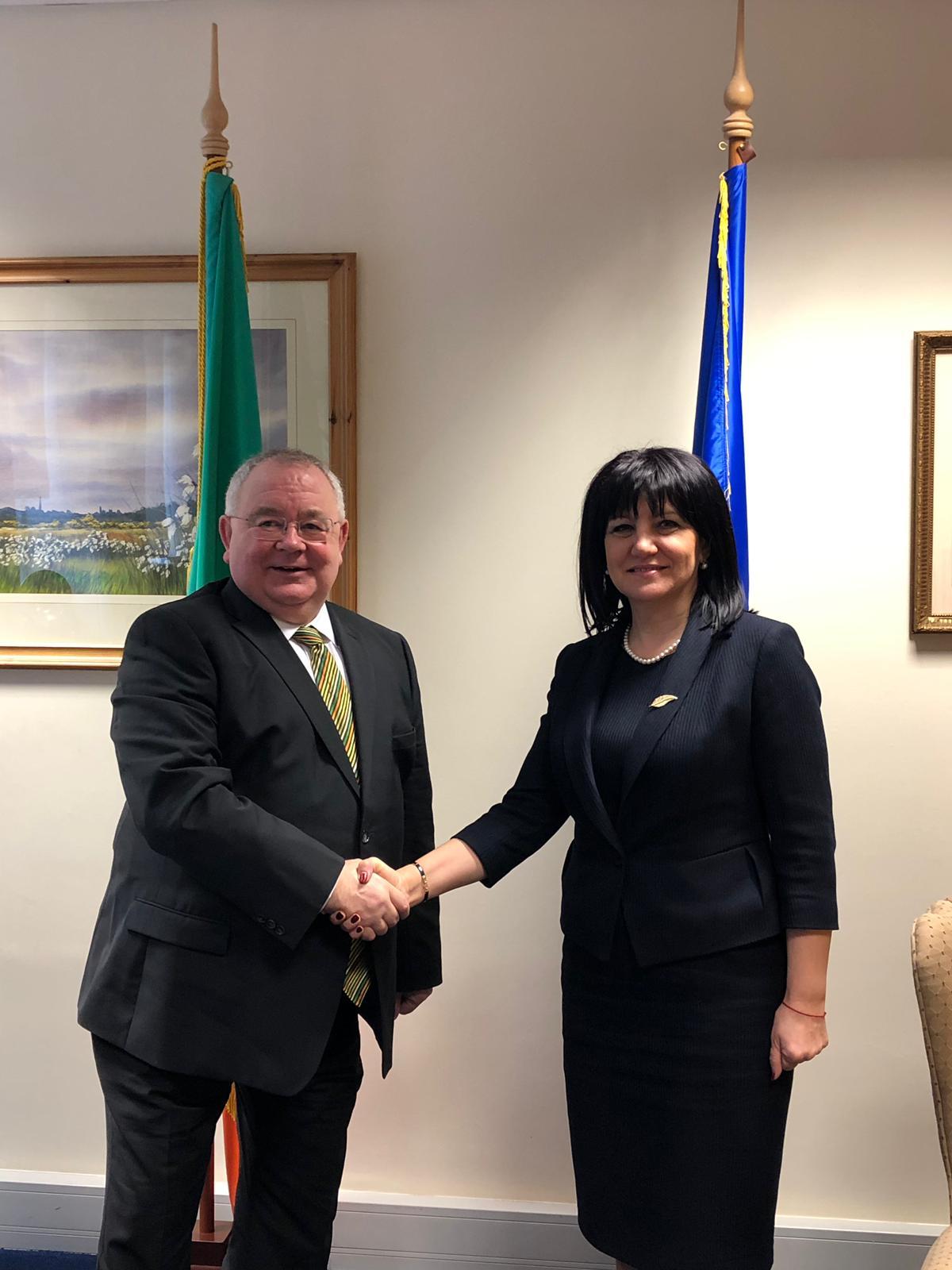 Възможностите за задълбочаване на парламентарното сътрудничество между България и Ирландия обсъдиха председателите на законодателните институции на двете страни